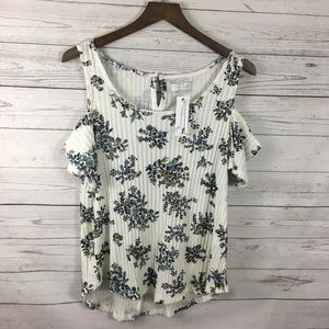 NWT Lucky Brand Floral Cold Shoulder Top Small